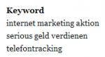 Serious Marketing Suchbegriffe 01-10