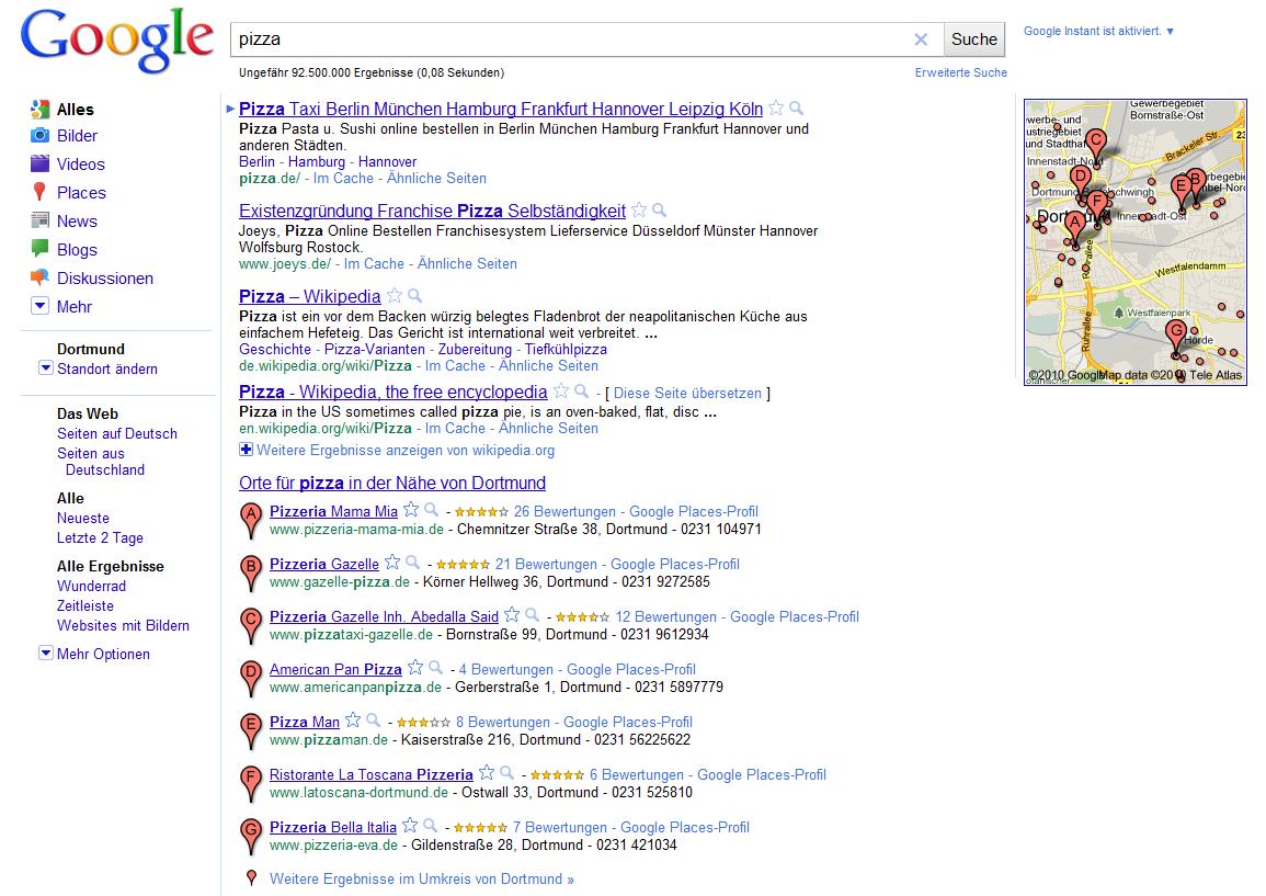 Google mit lokalen Suchergebnissen